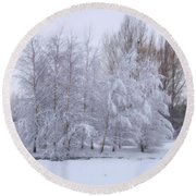 Snow Trees Round Beach Towel
