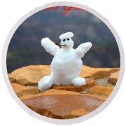 Snowball Snowman Round Beach Towel