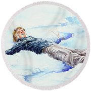 Snowball War Round Beach Towel