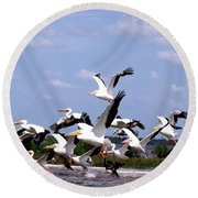 Snowbirds Heading South Round Beach Towel