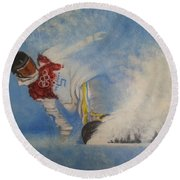 Round Beach Towel featuring the painting Snowboarder by Amelie Simmons