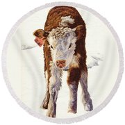 Country Life Winter Baby Calf Round Beach Towel