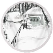 Snowbound Round Beach Towel