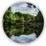 Snowdonia Summer On The River Round Beach Towel by Beverly Cash