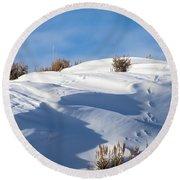 Snowdrifts Round Beach Towel by Nadja Rider