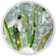 Round Beach Towel featuring the photograph Snowdrops A Promise Of Spring by Angela Davies
