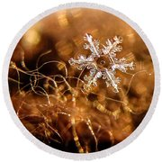 Snowflake On Brown Round Beach Towel