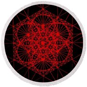 Round Beach Towel featuring the drawing Snowflake Shape Comes From Frequency And Mass by Jason Padgett