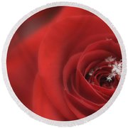 Snowflakes On A Rose Round Beach Towel by Lori Grimmett