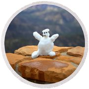 Snowman At Bryce - Square Round Beach Towel by Gordon Elwell