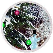 Round Beach Towel featuring the digital art Snowman by Daniel Janda
