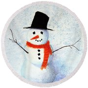 Snowman Round Beach Towel by Marna Edwards Flavell
