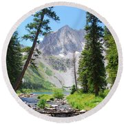 Snowmass Peak Landscape Round Beach Towel