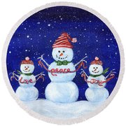 Snowmen Round Beach Towel