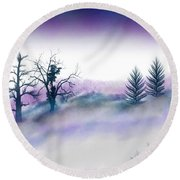Snowstorm In Catskill Ipad Version Round Beach Towel by Frank Bright