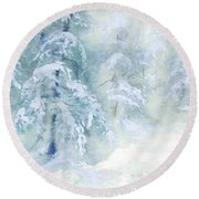 Snowstorm Round Beach Towel by Joy Nichols