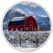Snowy Barn In The Mountains - Utah Round Beach Towel