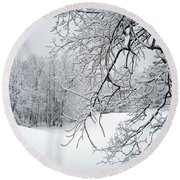 Snowy Branches Round Beach Towel by Aimee L Maher Photography and Art Visit ALMGallerydotcom