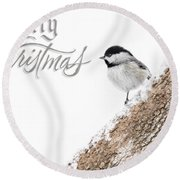 Snowy Chickadee Christmas Card Round Beach Towel