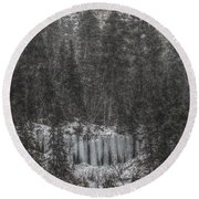 The Snowy Cliffs Of Spearfish Canyon South Dakota Round Beach Towel