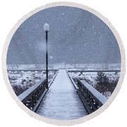 Snowy Day On The Boardwalk Round Beach Towel