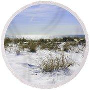 Snowy Dunes Round Beach Towel by Karen Silvestri
