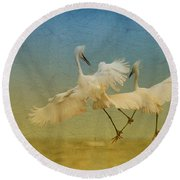 Snowy Egret Dance Round Beach Towel