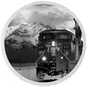 Snowy Engine Through The Rockies Round Beach Towel