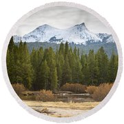 Round Beach Towel featuring the photograph Snowy Fall In Yosemite by David Millenheft