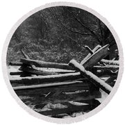 Snowy Fence Round Beach Towel by Michael Porchik