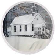 Snowy Gates Chapel  -little White Church - Ellijay Round Beach Towel