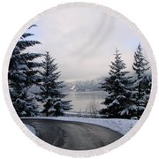 Snowy Gorge Round Beach Towel by Athena Mckinzie