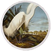 Snowy Heron Or White Egret Round Beach Towel by John James Audubon