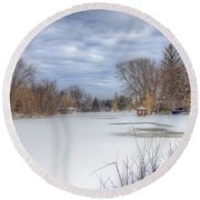 Snowy Lake Round Beach Towel