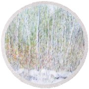 Snowy Landscape In New Hampshire Round Beach Towel
