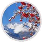 Snowy Mountain Ash Round Beach Towel