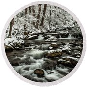 Round Beach Towel featuring the photograph Snowy Mountain Stream by Debbie Green
