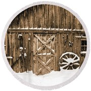 Snowy Old Barn Round Beach Towel