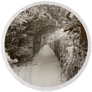 Round Beach Towel featuring the photograph Snowy Path by Vicki Spindler