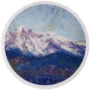 Round Beach Towel featuring the painting Snowy Peaks by Margaret Bobb