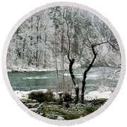 Snowy River And Bank Round Beach Towel by Belinda Greb