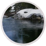 Round Beach Towel featuring the photograph Snowy River Bend by Bobbee Rickard