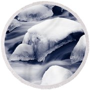 Round Beach Towel featuring the photograph Snowy Rocks by Liz Leyden