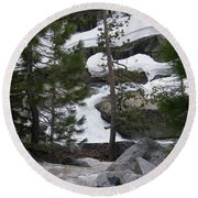 Round Beach Towel featuring the photograph Snowy Sierras by Bobbee Rickard