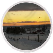Snowy Pennsylvania Sunset Round Beach Towel
