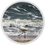 Snowy White Egret Round Beach Towel by Kim Pate