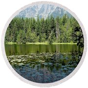 Snyder Lake Reflection Round Beach Towel