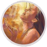 Soaking In Glory Round Beach Towel