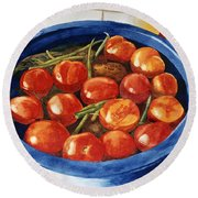 Soaking Tomatoes Round Beach Towel