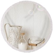 Soap Suds With Bubbles Round Beach Towel